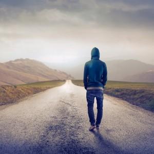 Ensam man på väg