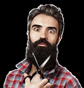 Man som klipper sitt skägg